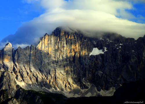 Clouds shrouding the summit of Civetta
