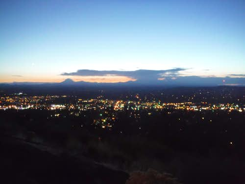 Nighttime arrives over Bend