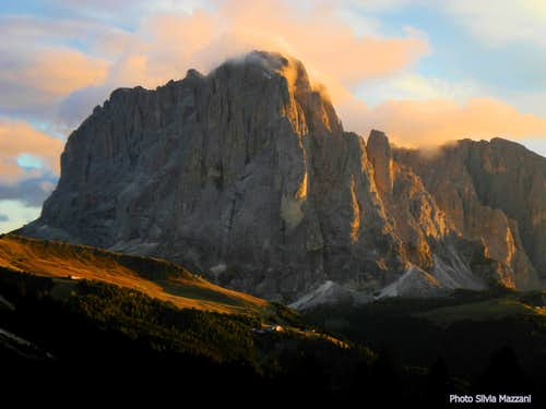September sunset over the mighty Sassolungo