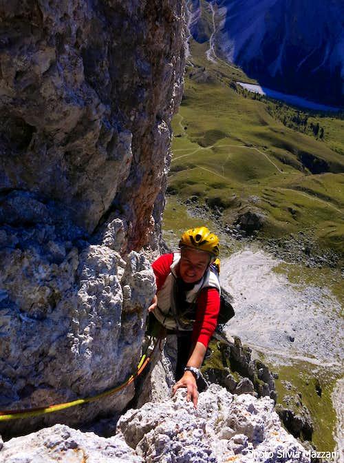 Funny climbing on Dibona, Sass de Mesdì