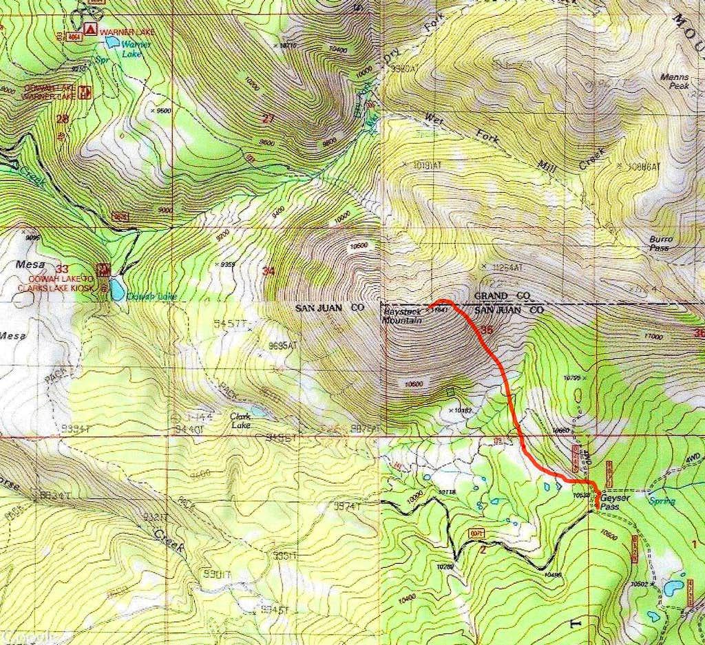Haystack Mountain Map