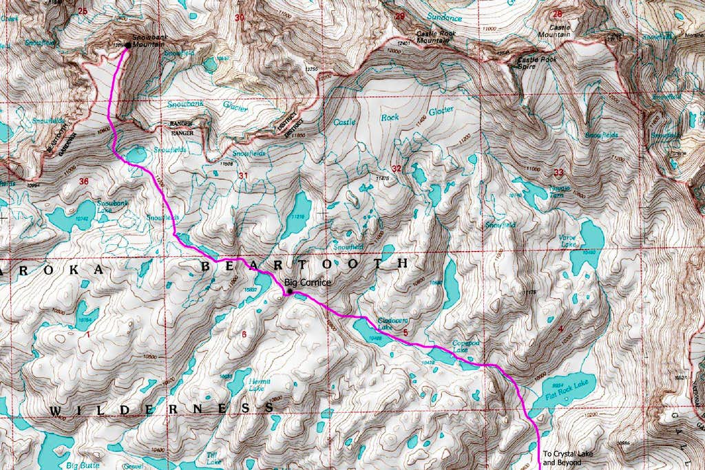 Snowbank Mountain Topo Map
