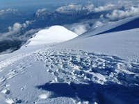 Above the Gouter hut on Mont Blanc