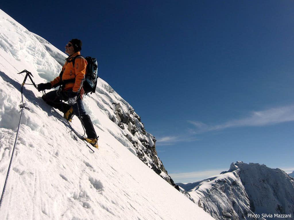Axe-anchor on Vallunaraju summit ridge
