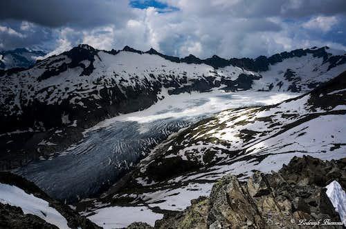 The massive Rhone Glacier