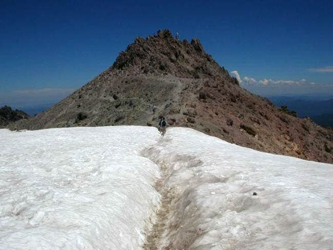 Crossing a small snowfield...
