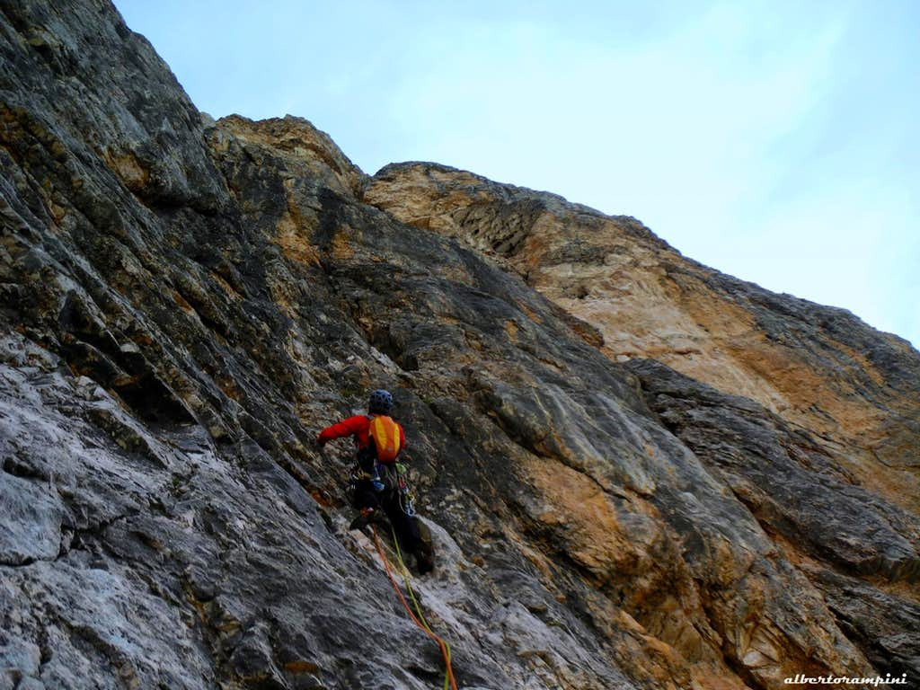 Castelletto, Route Ghedina: negotiating the crux