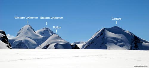 Lyskamm, Pollux and Castore seen from Breithorn Plateau