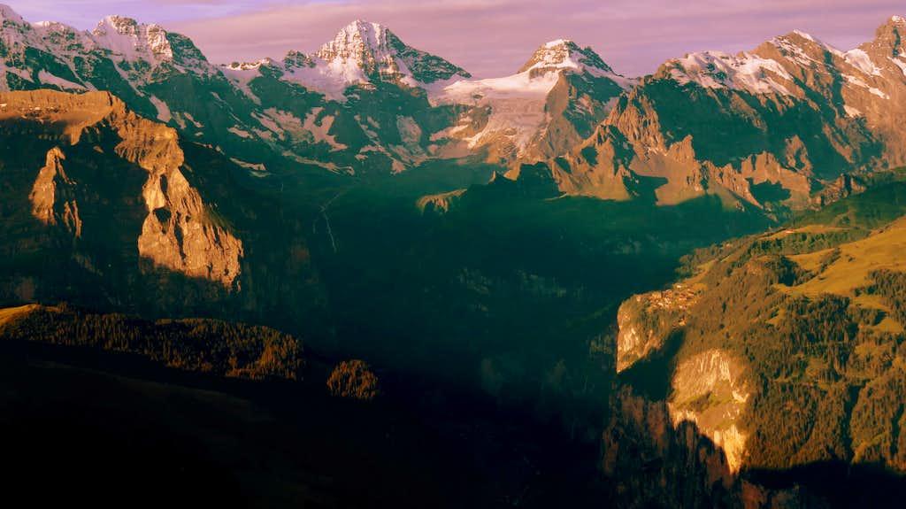Breithorn,Lauterbrunnen valley in morning light