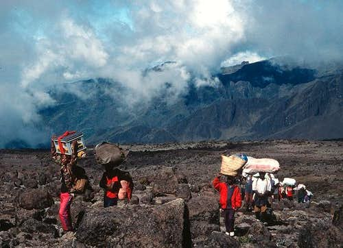Porters on the Shira Plateau,...
