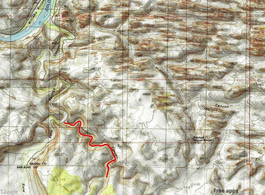 Map of Hunter Canyon hike
