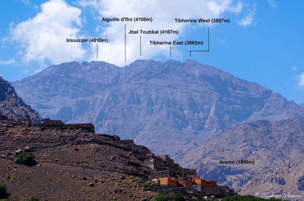 Annotated Toubkal Massif (North Face) Pano as seen from Imlil