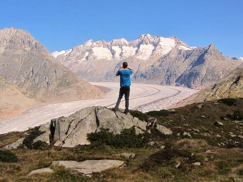 Looking up the Grand Aletsch Glacier