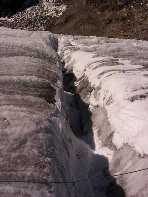 One of many crevasses on the Grosser Aletschgletscher