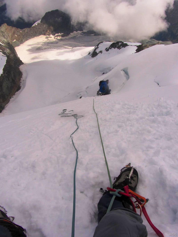 High on the Hohlaub ridge, above the crux