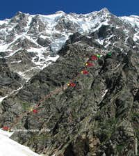 Shkhara, South Pillar, Beknu Khergiani route