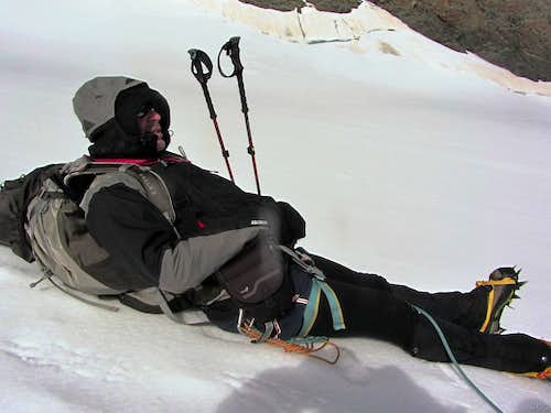 Mark, in pain, resting a bit on the Allalin Glacier
