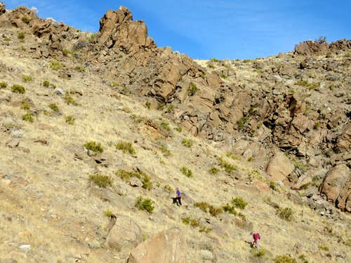 Group heading up the gully route