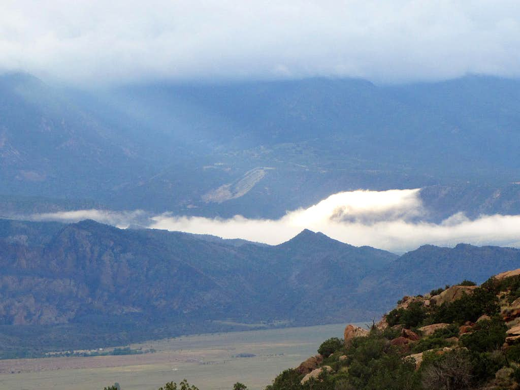 La Sal Mountains hidden in clouds