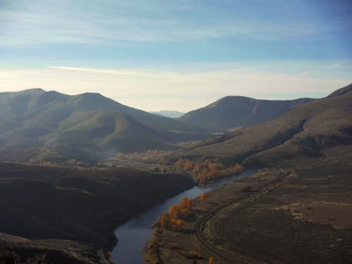 Looking down into the Yakima River Canyon