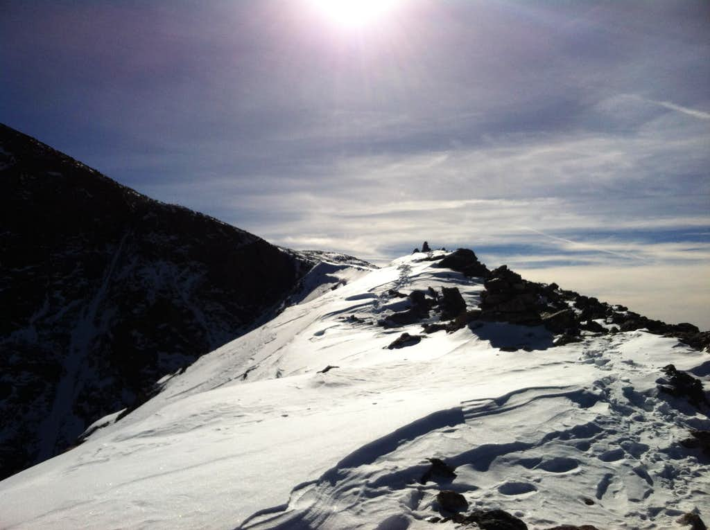 Nearing the summit of Mount of the Holy Cross from the North Ridge, November 9, 2014