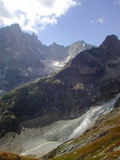 View westward from the traverse between <br>Petit - <i>2488m</i> and Grand Ferret <i>2537m</i>