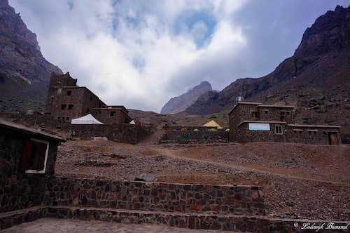 Toubkal Refuges with Ras n Timesguida behind