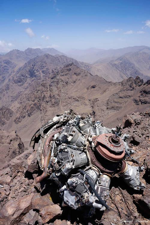 The Engine of a crashed plane on the summit of Tibherine