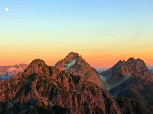Morning Star, Del Campo, and Gothic Peaks at sunset