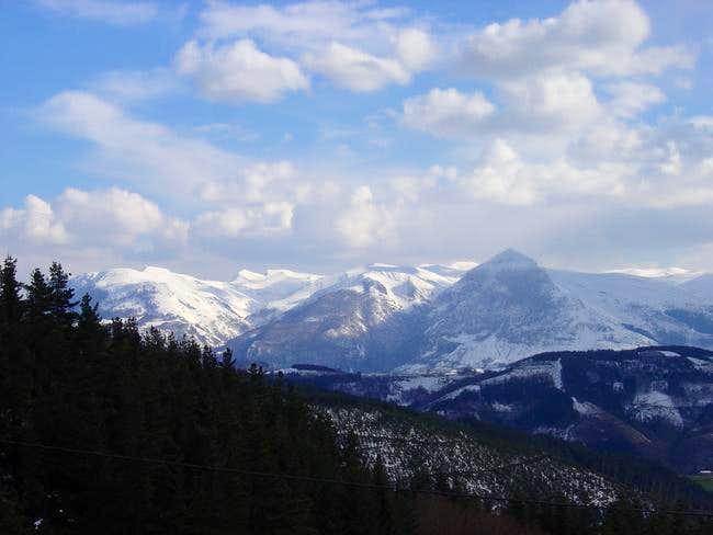 The Sierra de Aralar with the...