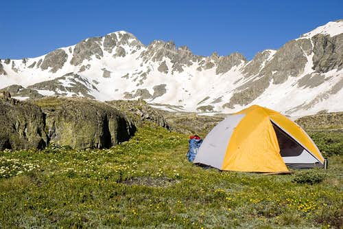 Fletcher Mountain and a Tent