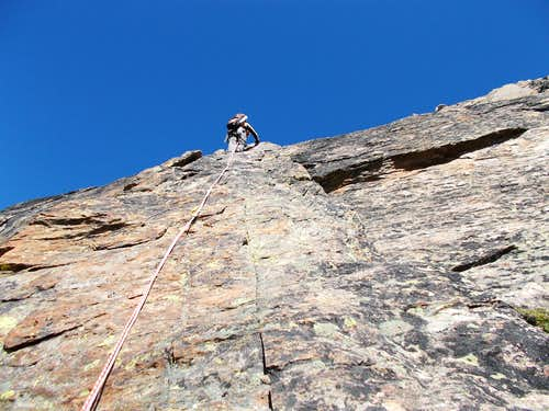 Climbing the second pitch