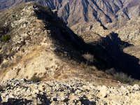 Looking back down the ridge