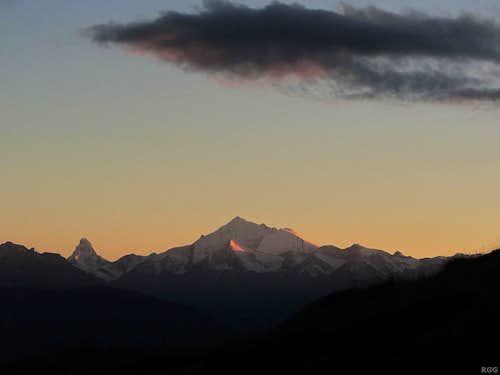 Matterhorn (4478m) and Weisshorn (4506m) at dusk