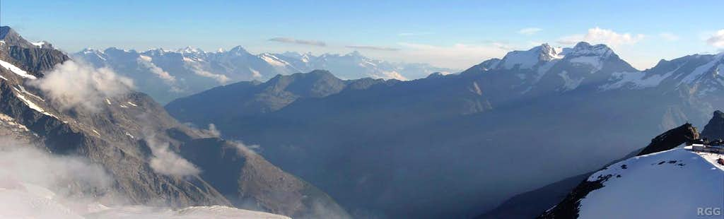 Panorama of the distant Bernese Alps and the Weissmies group