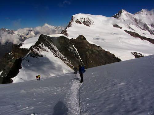 High on Allalinhorn, with Feechopf, Alphubel, Täschhorn and (if only just) Dom
