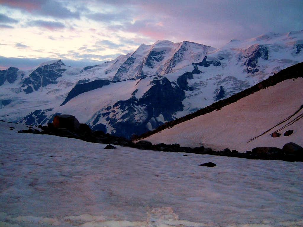 Piz Palù seen from the little glacier Boval Dadains before sunset