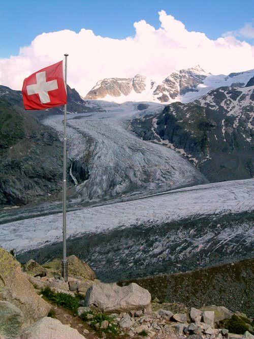 Morteratsch Glacier seen from Bovalhütte
