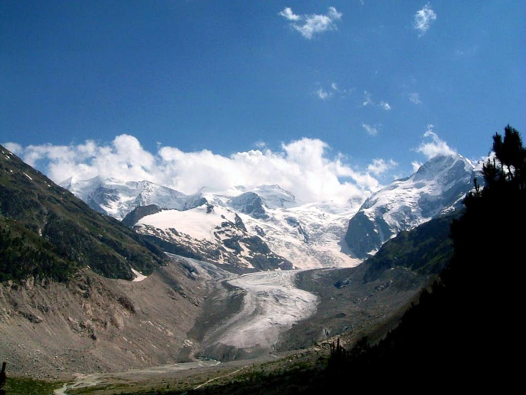 Head of Glacier Morteratsch - Palù and Bernina peaks back