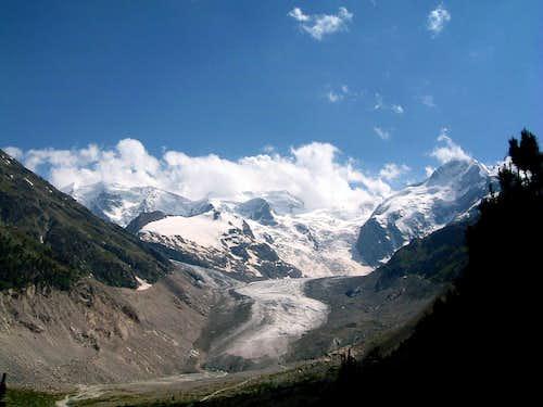 Head of Glacier Morteratsch - Palù and Bernina peaks back