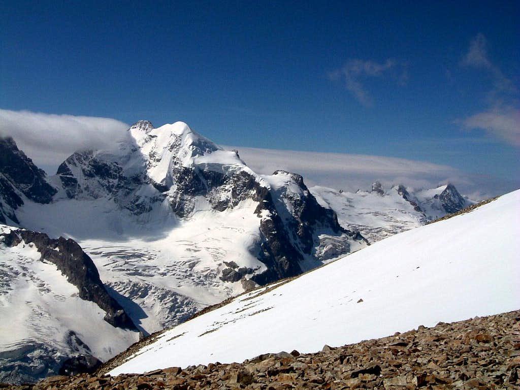 A giant of Bernina: Piz Roseg seen from Tschierva summit