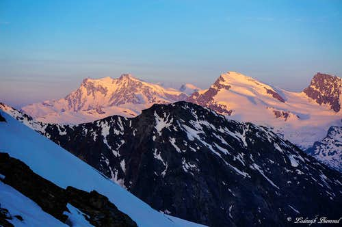 Alpenglow on Monte Rosa (15203 ft / 4634 m) and Strahlhorn (13747 ft /)