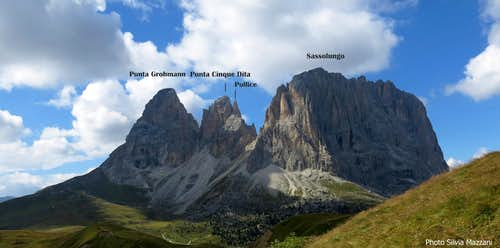 Pollice and Sassolungo Group seen from Torri del Sella