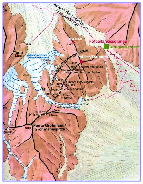 Pollice del Sassolungo map