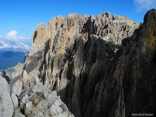 Sassolungo main summit seen from Pollice