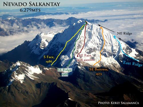 East Face Routes on Salkantay