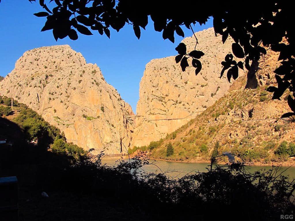 The south entrance of the deep and narrow canyon at El Chorro
