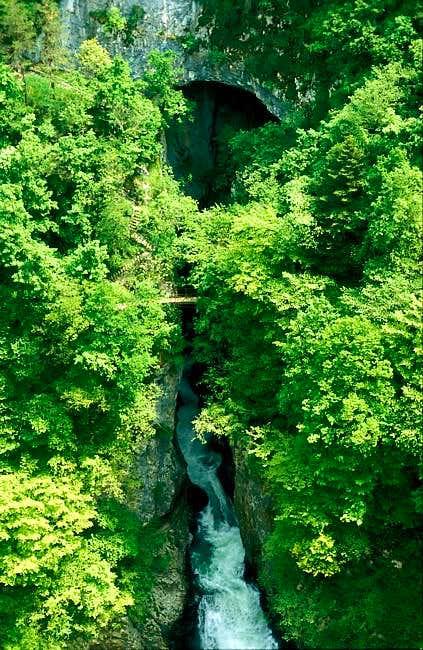 River Reka a few meters...