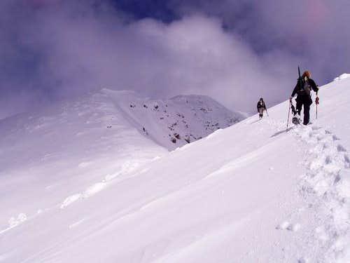 Traversing the ridge toward...