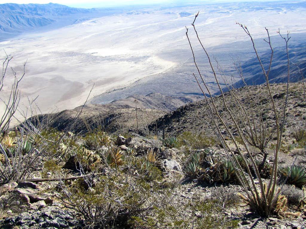 Ridgeline going down to desert floor